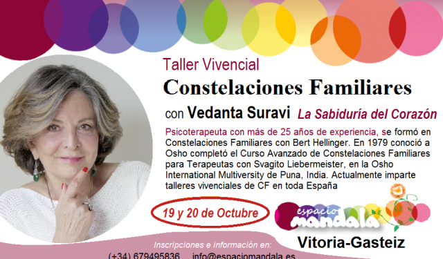 19 y 20 de Octubre… una vez más Constelaciones Familiares con Vedanta Suravi en Vitoria-Gasteiz